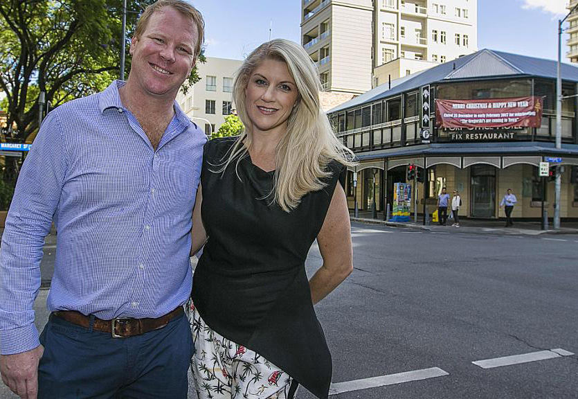 Publicans Nick and Meagan Gregorski outside the Port Office Hotel in the Brisbane CBD. Picture: Jack Tran